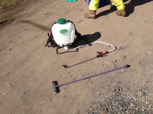 A typical backpack sprayer and weed wiper for herbicide application